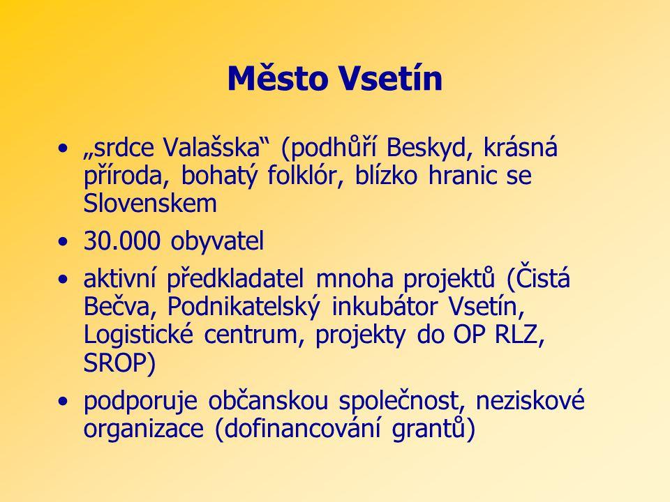 """Město Vsetín •""""srdce Valašska (podhůří Beskyd, krásná příroda, bohatý folklór, blízko hranic se Slovenskem •30.000 obyvatel •aktivní předkladatel mnoha projektů (Čistá Bečva, Podnikatelský inkubátor Vsetín, Logistické centrum, projekty do OP RLZ, SROP) •podporuje občanskou společnost, neziskové organizace (dofinancování grantů)"""