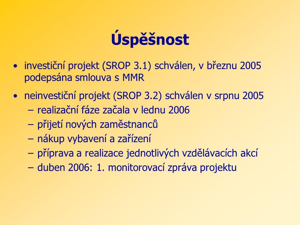 Úspěšnost •investiční projekt (SROP 3.1) schválen, v březnu 2005 podepsána smlouva s MMR •neinvestiční projekt (SROP 3.2) schválen v srpnu 2005 –realizační fáze začala v lednu 2006 –přijetí nových zaměstnanců –nákup vybavení a zařízení –příprava a realizace jednotlivých vzdělávacích akcí –duben 2006: 1.