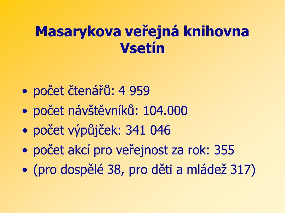 Masarykova veřejná knihovna Vsetín •počet čtenářů: 4 959 •počet návštěvníků: 104.000 •počet výpůjček: 341 046 •počet akcí pro veřejnost za rok: 355 •(pro dospělé 38, pro děti a mládež 317)