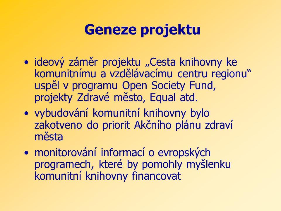 """Geneze projektu •ideový záměr projektu """"Cesta knihovny ke komunitnímu a vzdělávacímu centru regionu uspěl v programu Open Society Fund, projekty Zdravé město, Equal atd."""