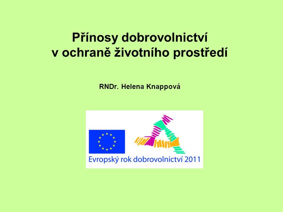 Východiska pro mapování dobrovolnictví v ochraně ŽP v roce 2011 •systematická spolupráce MŽP s neziskovými organizacemi (dotazníkový průzkum v roce 2010) •vytvoření tématické skupiny pro dobrovolnictví v ŽP •spolupráce s dalšími organizacemi a institucemi při příležitosti ERD 2011 (MŠMT, MV, Hestia, ČRDM …)