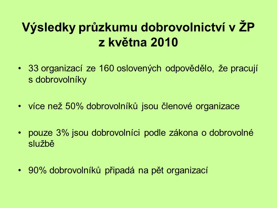 Výsledky průzkumu dobrovolnictví v ŽP z května 2010 •33 organizací ze 160 oslovených odpovědělo, že pracují s dobrovolníky •více než 50% dobrovolníků