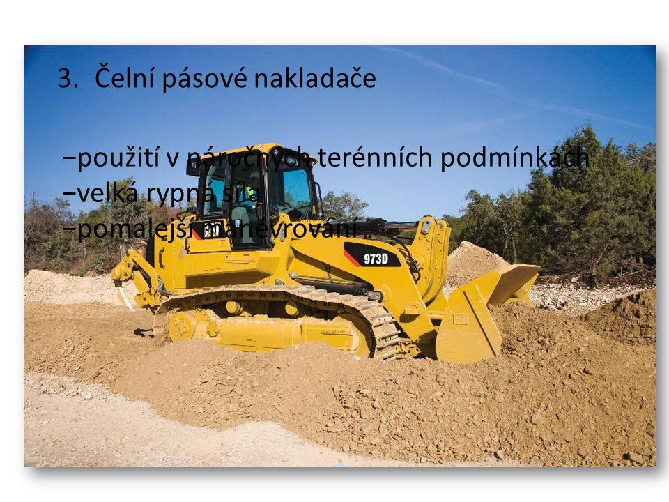 2.Čelní kolové nakladače −nakládání sypkých i kusových materiálů −těžba lehkých zemin (třída 1 a 2) −řízení natáčením všech kol (menší typy) −řízení kloubovým rámem (nejpoužívanější) −výměnná pracovní nářadí http://www.liebherr.com/EM/en-GB/region- (europe)/products_em.wfw/id-13480-0/measure-metric/tab-9503_147