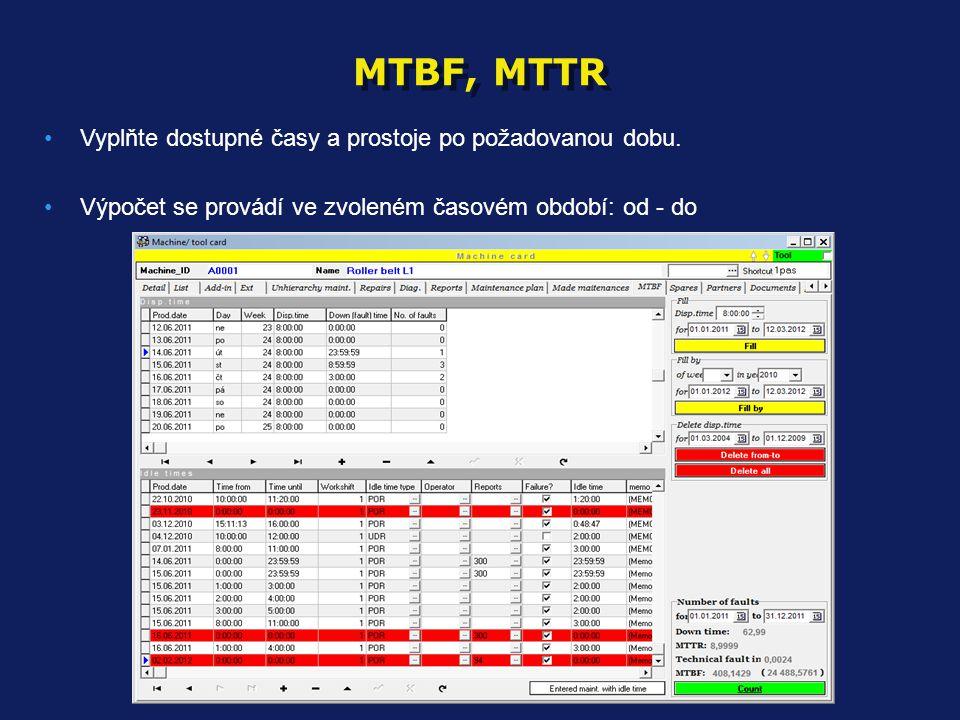 MTBF, MTTR •Vyplňte dostupné časy a prostoje po požadovanou dobu. •Výpočet se provádí ve zvoleném časovém období: od - do