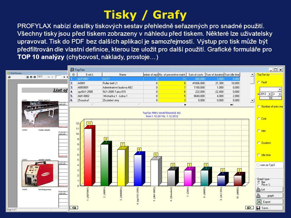 PROFYLAX nabízí desítky tiskových sestav přehledně seřazených pro snadné použití. Všechny tisky jsou před tiskem zobrazeny v náhledu před tiskem. Někt