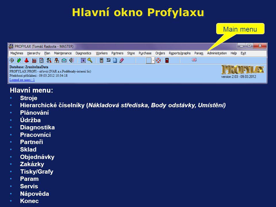 Hlavní okno Profylaxu Hlavní menu: •Stroje •Hierarchické číselníky (Nákladová střediska, Body odstávky, Umístění) •Plánování •Údržba •Diagnostika •Pra