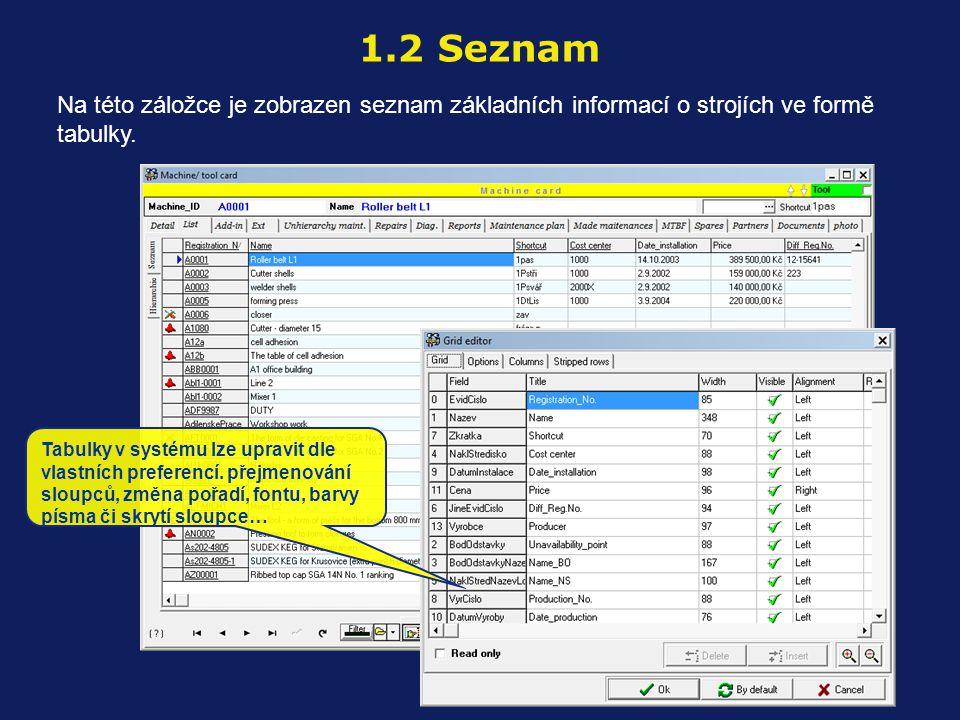Na této záložce je zobrazen seznam základních informací o strojích ve formě tabulky. 1.2 Seznam Tabulky v systému lze upravit dle vlastních preferencí