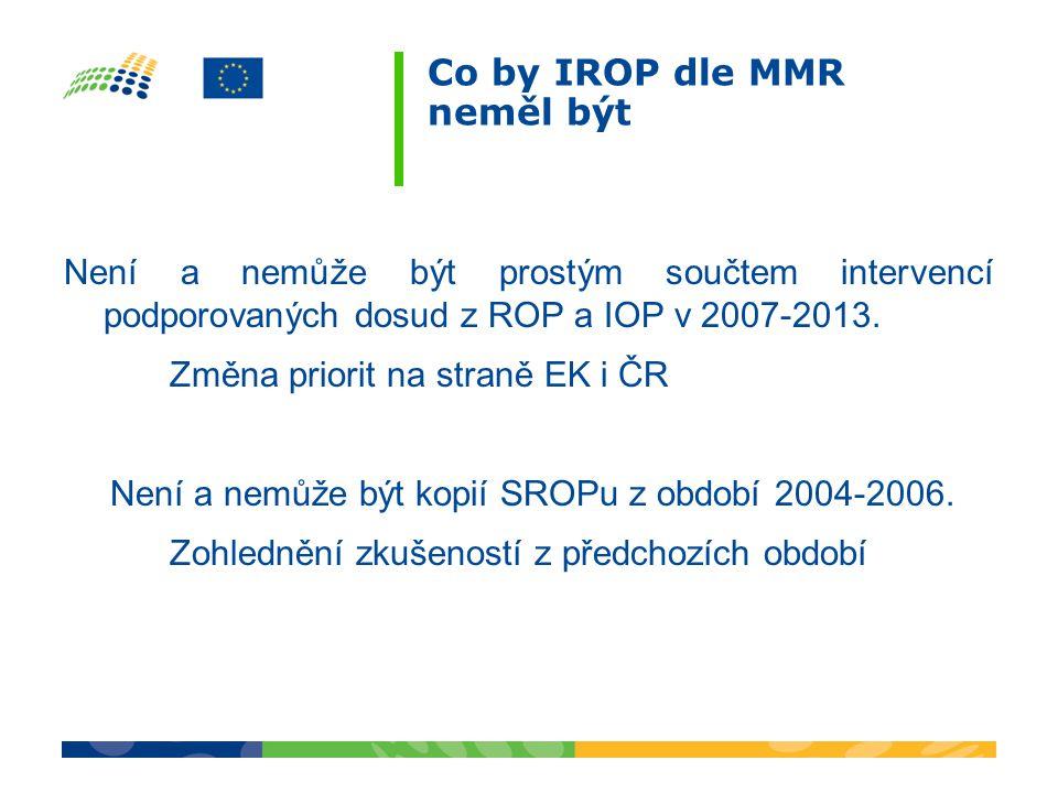 Co by IROP dle MMR neměl být Není a nemůže být prostým součtem intervencí podporovaných dosud z ROP a IOP v 2007-2013.
