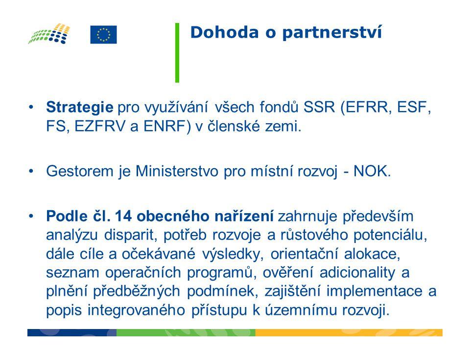 Dohoda o partnerství •Strategie pro využívání všech fondů SSR (EFRR, ESF, FS, EZFRV a ENRF) v členské zemi.