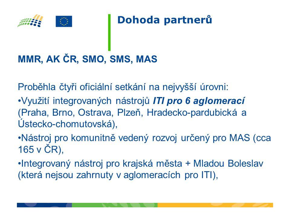 Dohoda partnerů MMR, AK ČR, SMO, SMS, MAS Proběhla čtyři oficiální setkání na nejvyšší úrovni: •Využití integrovaných nástrojů ITI pro 6 aglomerací (Praha, Brno, Ostrava, Plzeň, Hradecko-pardubická a Ústecko-chomutovská), •Nástroj pro komunitně vedený rozvoj určený pro MAS (cca 165 v ČR), •Integrovaný nástroj pro krajská města + Mladou Boleslav (která nejsou zahrnuty v aglomeracích pro ITI),