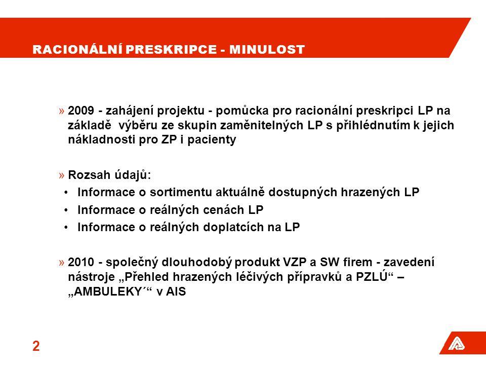 """RACIONÁLNÍ PRESKRIPCE - MINULOST »2009 - zahájení projektu - pomůcka pro racionální preskripci LP na základě výběru ze skupin zaměnitelných LP s přihlédnutím k jejich nákladnosti pro ZP i pacienty »Rozsah údajů: •Informace o sortimentu aktuálně dostupných hrazených LP •Informace o reálných cenách LP •Informace o reálných doplatcích na LP »2010 - společný dlouhodobý produkt VZP a SW firem - zavedení nástroje """"Přehled hrazených léčivých přípravků a PZLÚ – """"AMBULEKY´ v AIS 2"""