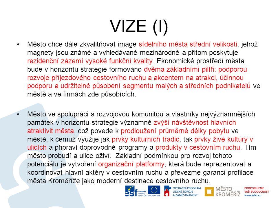 VIZE (I) •Město chce dále zkvalitňovat image sídelního města střední velikosti, jehož magnety jsou známé a vyhledávané mezinárodně a přitom poskytuje