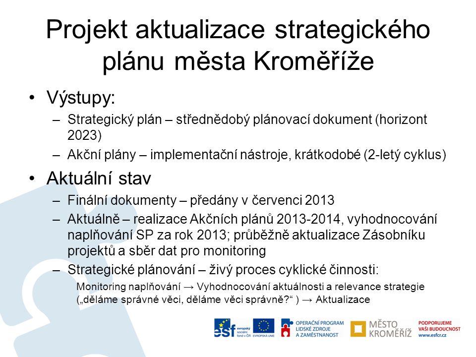Projekt aktualizace strategického plánu města Kroměříže •Výstupy: –Strategický plán – střednědobý plánovací dokument (horizont 2023) –Akční plány – im