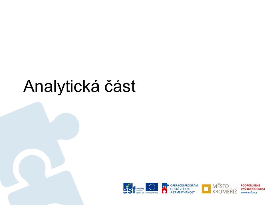 """Analytický profil •Systematizovaná informace o tom, """"kde jsme dnes – popis socioekonomické reality města Kroměříže 2013 •Nástroje zpracování: –Statistická data a informace, oborové strategie –Dotazníkové šetření (leden – únor 2013, 465 respondentů) –Řízené rozhovory s představiteli města a dalších institucí (cca 15) –Pracovní skupiny – zřízeny 4 skupiny, 2 kola jednání (2."""