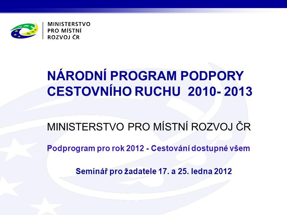 MINISTERSTVO PRO MÍSTNÍ ROZVOJ ČR Podprogram pro rok 2012 - Cestování dostupné všem Seminář pro žadatele 17.