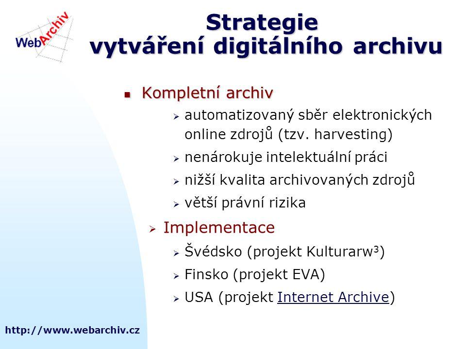 http://www.webarchiv.cz Strategie vytváření digitálního archivu  Kompletní archiv  automatizovaný sběr elektronických online zdrojů (tzv.