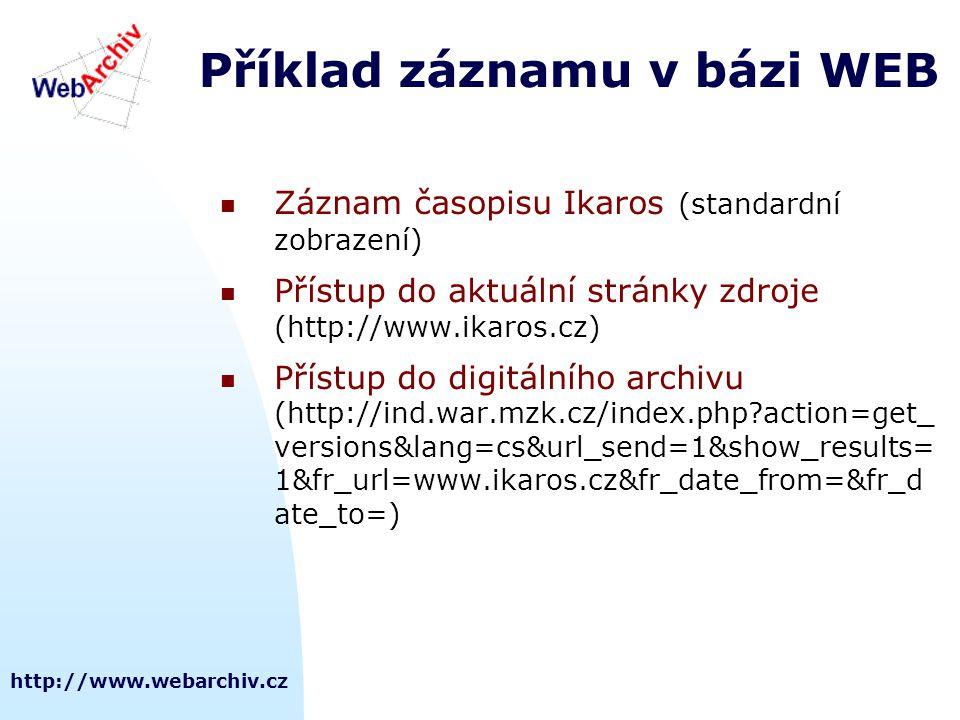 http://www.webarchiv.cz Příklad záznamu v bázi WEB  Záznam časopisu Ikaros (standardní zobrazení)  Přístup do aktuální stránky zdroje (http://www.ikaros.cz)  Přístup do digitálního archivu (http://ind.war.mzk.cz/index.php?action=get_ versions&lang=cs&url_send=1&show_results= 1&fr_url=www.ikaros.cz&fr_date_from=&fr_d ate_to=)