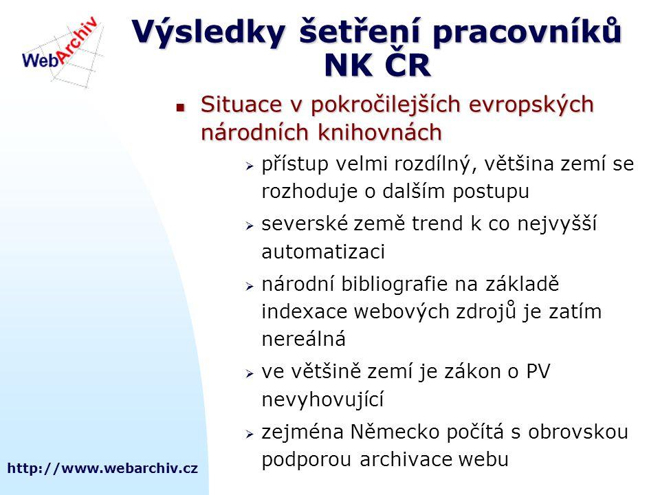 http://www.webarchiv.cz Výsledky šetření pracovníků NK ČR  Situace v pokročilejších evropských národních knihovnách  přístup velmi rozdílný, většina