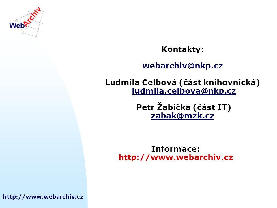 http://www.webarchiv.cz Kontakty: webarchiv@nkp.cz Ludmila Celbová (část knihovnická) ludmila.celbova@nkp.cz Petr Žabička (část IT) zabak@mzk.cz Informace: http://www.webarchiv.cz