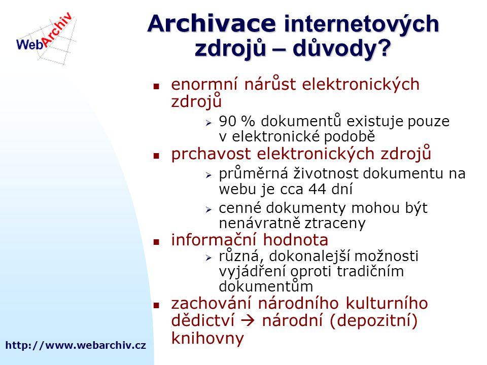 http://www.webarchiv.cz A rchivace internetových zdrojů – důvody?  enormní nárůst elektronických zdrojů  90 % dokumentů existuje pouze v elektronick