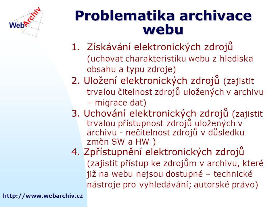 http://www.webarchiv.cz Problematika archivace webu 1.Získávání elektronických zdrojů (uchovat charakteristiku webu z hlediska obsahu a typu zdroje) 2.