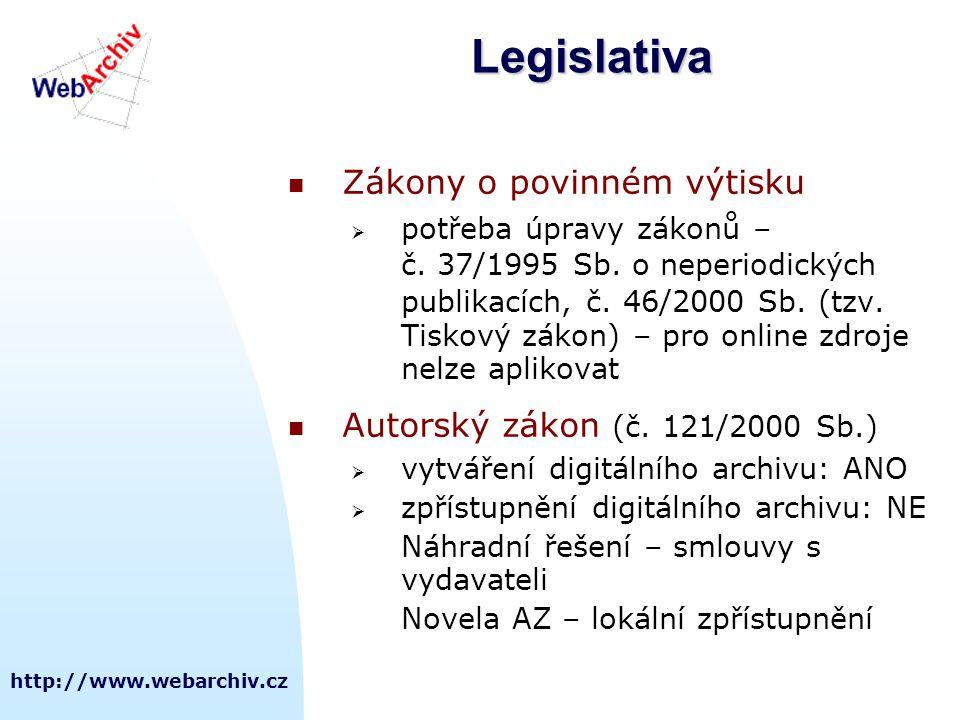 http://www.webarchiv.czLegislativa  Zákony o povinném výtisku  potřeba úpravy zákonů – č. 37/1995 Sb. o neperiodických publikacích, č. 46/2000 Sb. (