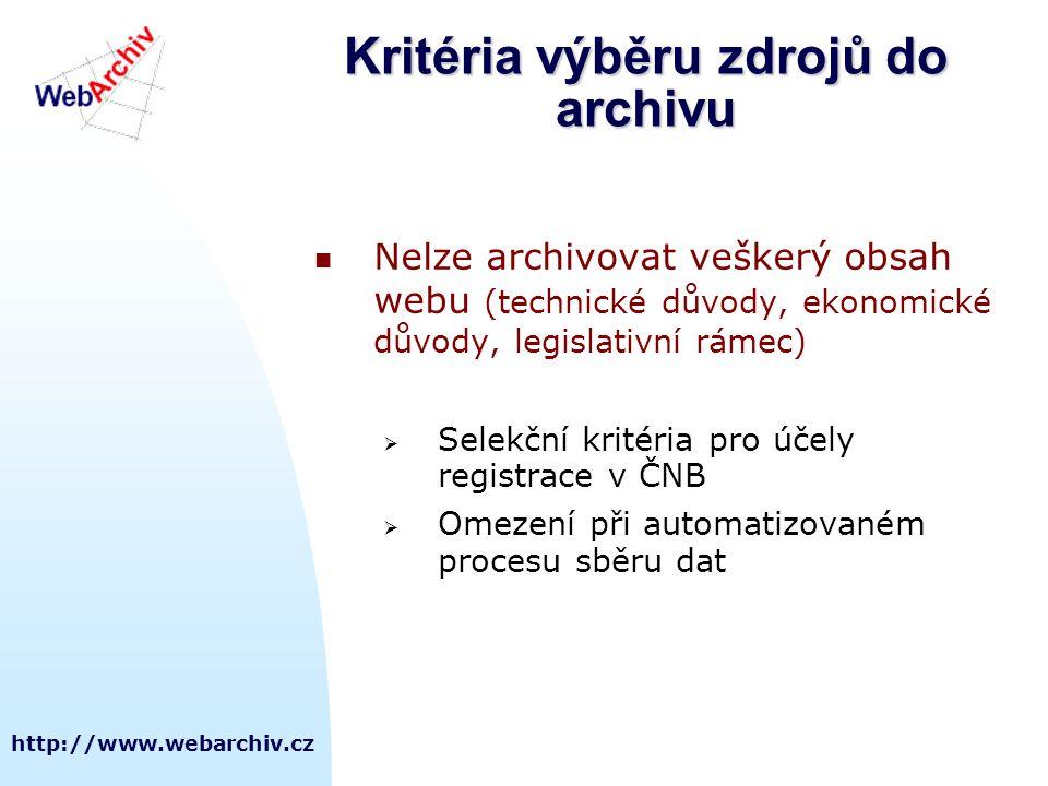 http://www.webarchiv.cz Kritéria výběru zdrojů do archivu  Nelze archivovat veškerý obsah webu (technické důvody, ekonomické důvody, legislativní rámec)  Selekční kritéria pro účely registrace v ČNB  Omezení při automatizovaném procesu sběru dat