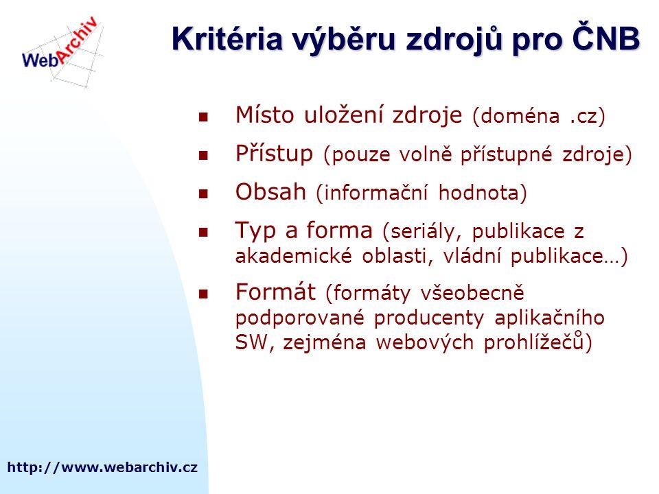 http://www.webarchiv.cz Kritéria výběru zdrojů pro ČNB  Místo uložení zdroje (doména.cz)  Přístup (pouze volně přístupné zdroje)  Obsah (informační hodnota)  Typ a forma (seriály, publikace z akademické oblasti, vládní publikace…)  Formát (formáty všeobecně podporované producenty aplikačního SW, zejména webových prohlížečů)