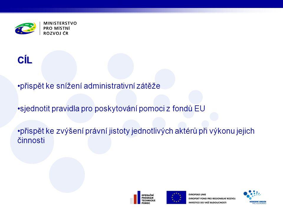 CÍL •přispět ke snížení administrativní zátěže •sjednotit pravidla pro poskytování pomoci z fondů EU •přispět ke zvýšení právní jistoty jednotlivých a