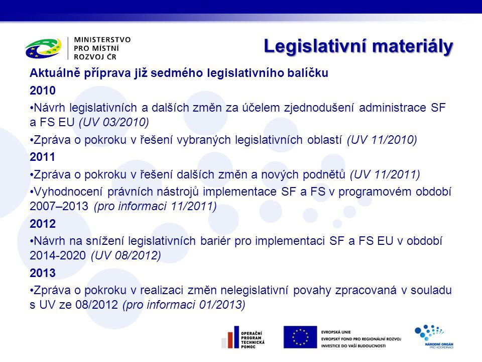 Legislativní materiály Legislativní materiály Aktuálně příprava již sedmého legislativního balíčku 2010 •Návrh legislativních a dalších změn za účelem