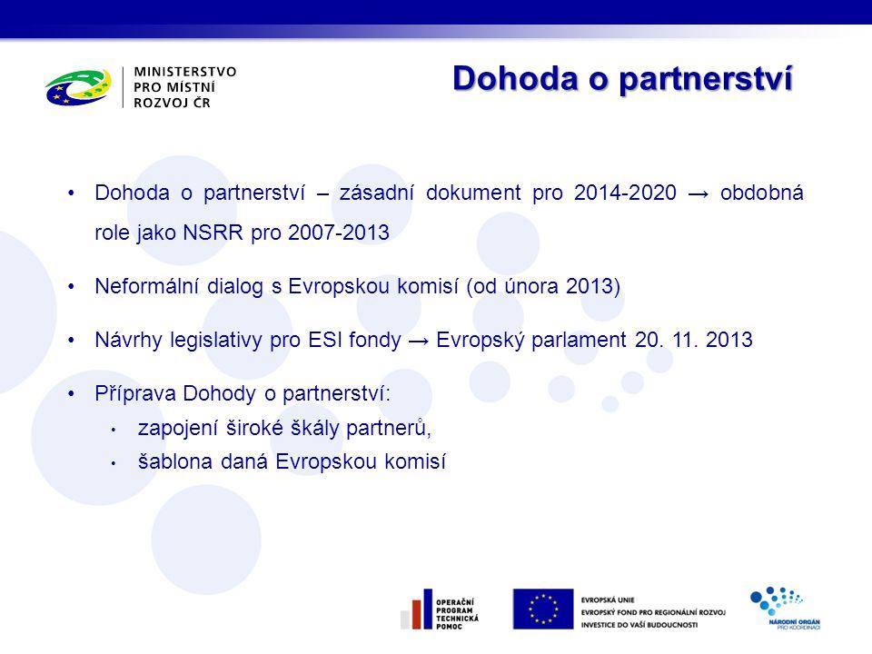 •Dohoda o partnerství – zásadní dokument pro 2014-2020 → obdobná role jako NSRR pro 2007-2013 •Neformální dialog s Evropskou komisí (od února 2013) •N
