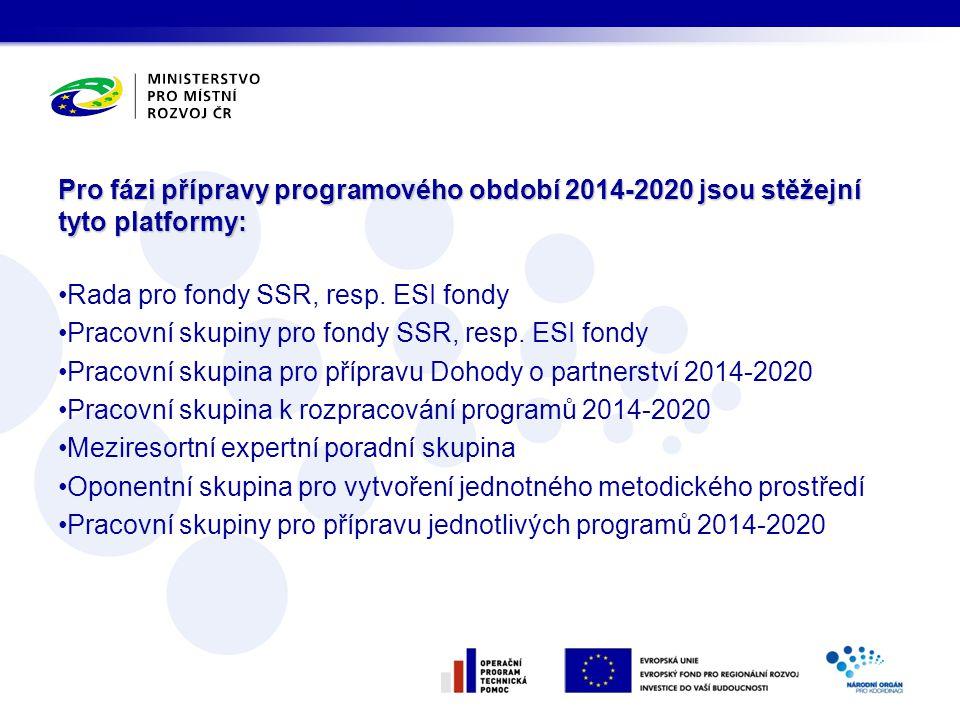 Pro fázi přípravy programového období 2014-2020 jsou stěžejní tyto platformy: •Rada pro fondy SSR, resp. ESI fondy •Pracovní skupiny pro fondy SSR, re