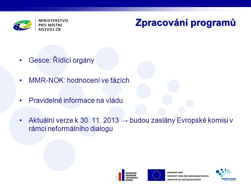 Zpracování programů •Gesce: Řídící orgány •MMR-NOK: hodnocení ve fázích •Pravidelné informace na vládu •Aktuální verze k 30. 11. 2013 → budou zaslány