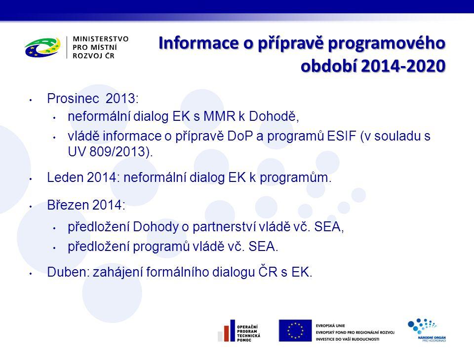 Informace o přípravě programového období 2014-2020 • Prosinec 2013: • neformální dialog EK s MMR k Dohodě, • vládě informace o přípravě DoP a programů