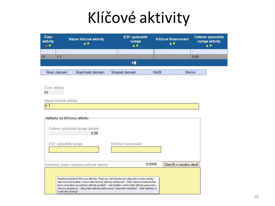 Klíčové aktivity 18