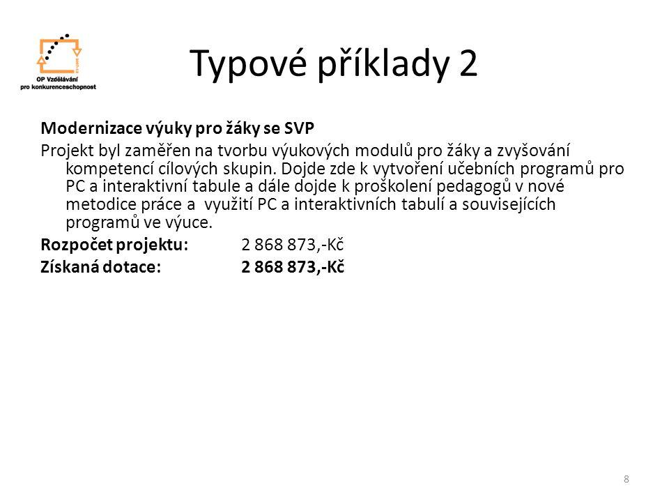 Typové příklady 2 Modernizace výuky pro žáky se SVP Projekt byl zaměřen na tvorbu výukových modulů pro žáky a zvyšování kompetencí cílových skupin.