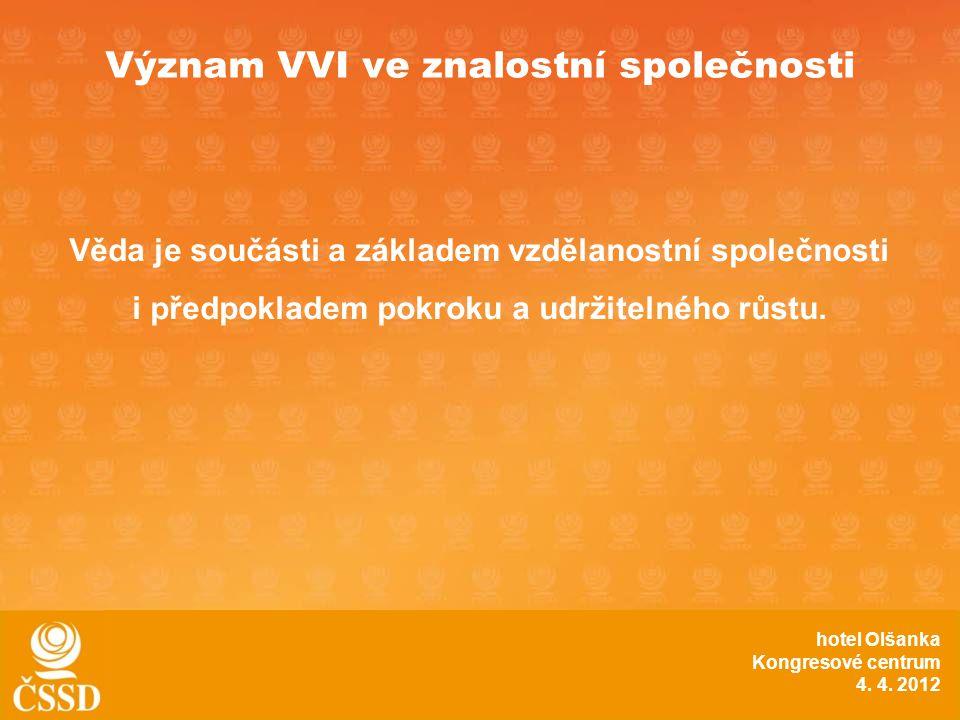 Význam VVI ve znalostní společnosti Věda je součásti a základem vzdělanostní společnosti i předpokladem pokroku a udržitelného růstu.