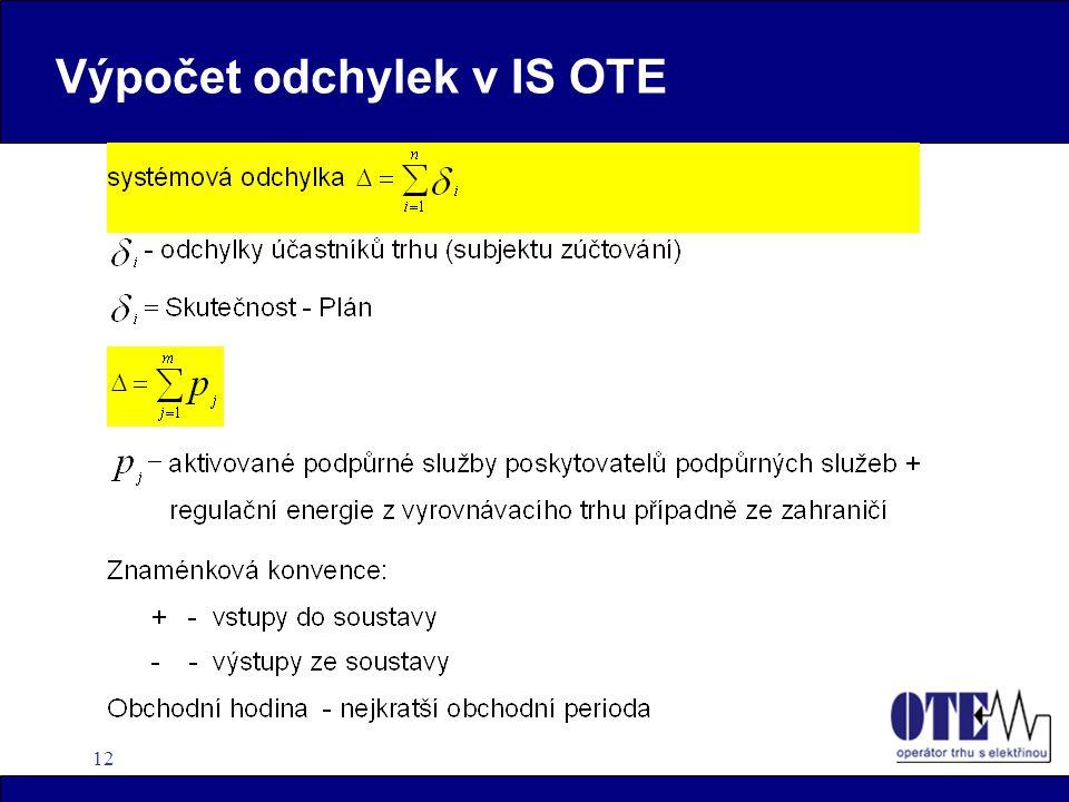 12 Výpočet odchylek v IS OTE