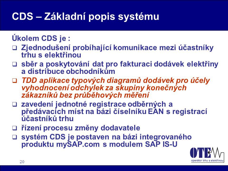 20 CDS – Základní popis systému Úkolem CDS je :  Zjednodušení probíhající komunikace mezi účastníky trhu s elektřinou  sběr a poskytování dat pro fa