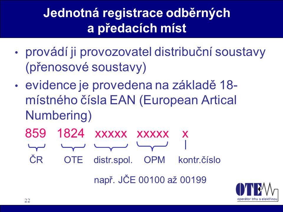 22 Jednotná registrace odběrných a předacích míst • provádí ji provozovatel distribuční soustavy (přenosové soustavy) • evidence je provedena na zákla