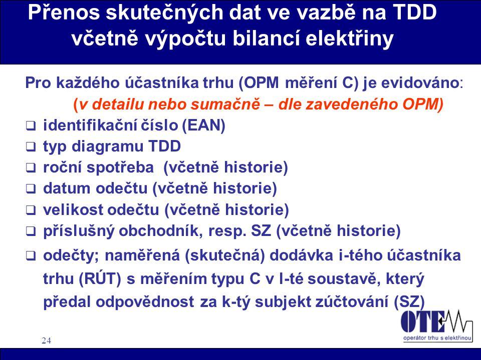 24 Přenos skutečných dat ve vazbě na TDD včetně výpočtu bilancí elektřiny Pro každého účastníka trhu (OPM měření C) je evidováno: (v detailu nebo suma