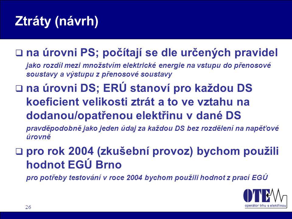 26 Ztráty (návrh)  na úrovni PS; počítají se dle určených pravidel jako rozdíl mezi množstvím elektrické energie na vstupu do přenosové soustavy a vý