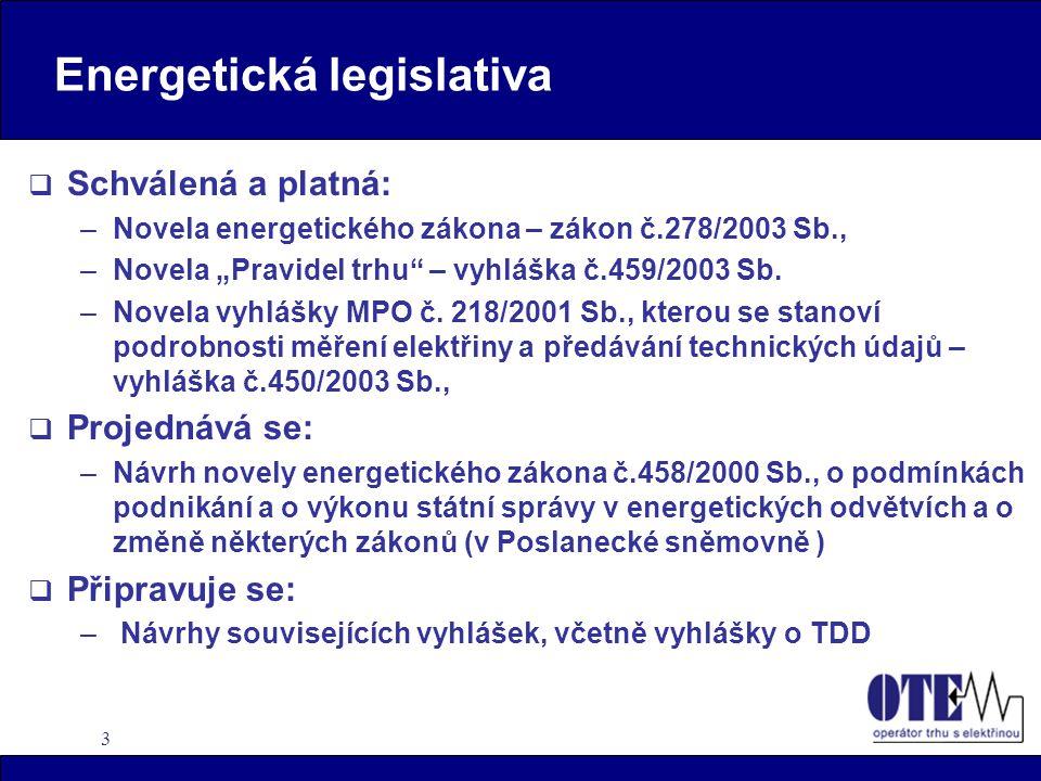 """3 Energetická legislativa  Schválená a platná: –Novela energetického zákona – zákon č.278/2003 Sb., –Novela """"Pravidel trhu"""" – vyhláška č.459/2003 Sb."""