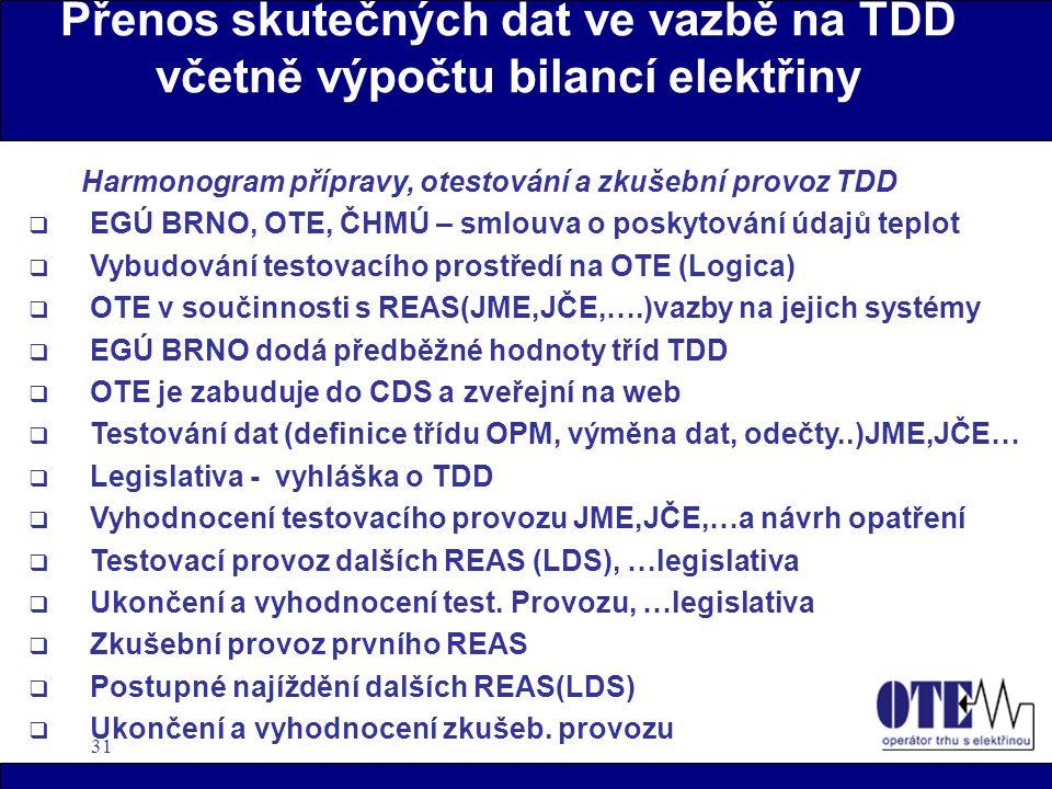 31 Přenos skutečných dat ve vazbě na TDD včetně výpočtu bilancí elektřiny Harmonogram přípravy, otestování a zkušební provoz TDD  EGÚ BRNO, OTE, ČHMÚ