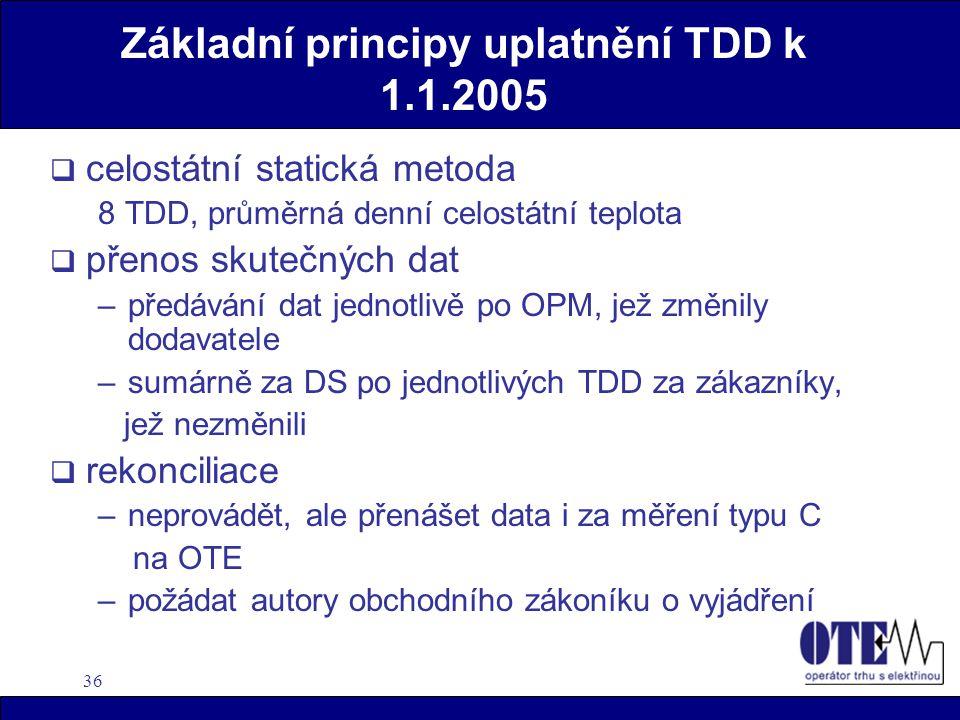 36 Základní principy uplatnění TDD k 1.1.2005  celostátní statická metoda 8 TDD, průměrná denní celostátní teplota  přenos skutečných dat –předávání