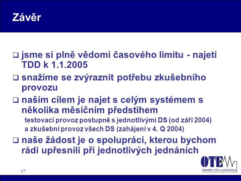 37 Závěr  jsme si plně vědomi časového limitu - najetí TDD k 1.1.2005  snažíme se zvýraznit potřebu zkušebního provozu  naším cílem je najet s celý