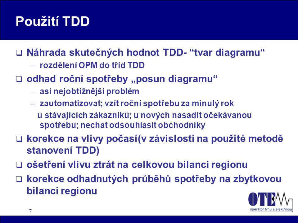 """7 Použití TDD  Náhrada skutečných hodnot TDD- """"tvar diagramu"""" –rozdělení OPM do tříd TDD  odhad roční spotřeby """"posun diagramu"""" –asi nejobtížnější p"""