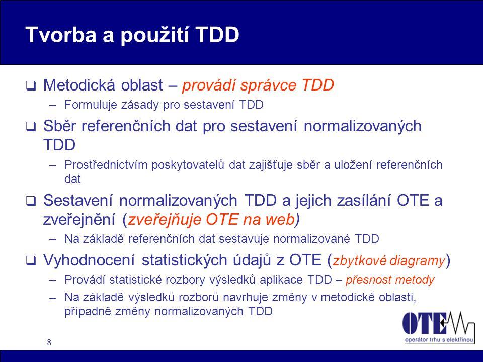 8 Tvorba a použití TDD  Metodická oblast – provádí správce TDD –Formuluje zásady pro sestavení TDD  Sběr referenčních dat pro sestavení normalizovan