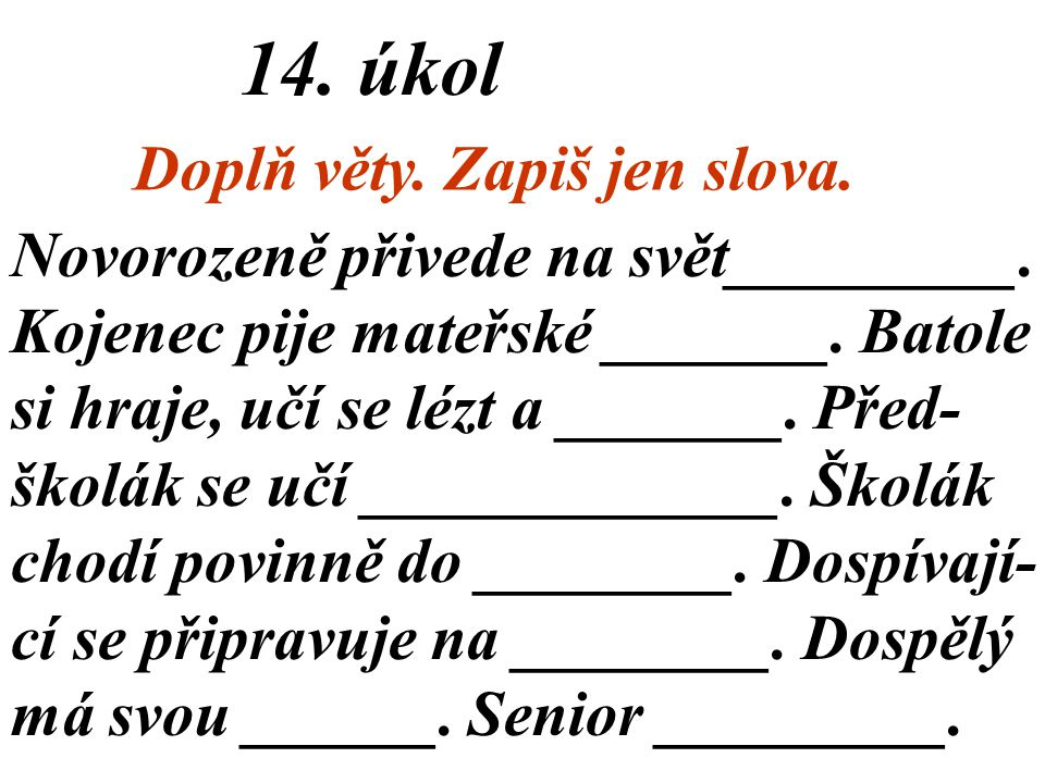 13. úkol Co komu patří podle věku? Zapiš.