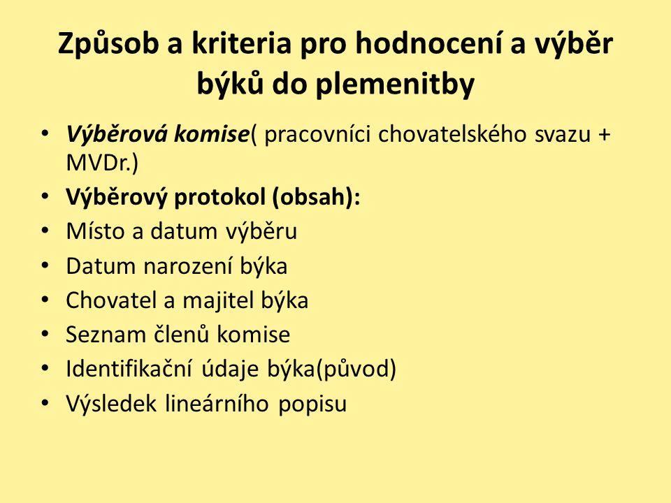 Způsob a kriteria pro hodnocení a výběr býků do plemenitby • Výběrová komise( pracovníci chovatelského svazu + MVDr.) • Výběrový protokol (obsah): • M